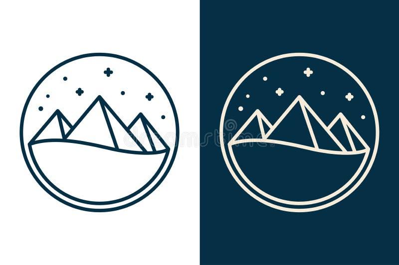 Logotipo egipcio de las pirámides stock de ilustración