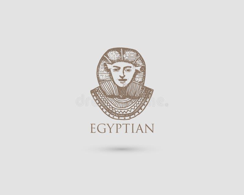 Logotipo egipcio del pharaon con símbolo del vintage antiguo de la civilización, de la mano grabada dibujada en bosquejo o del es stock de ilustración