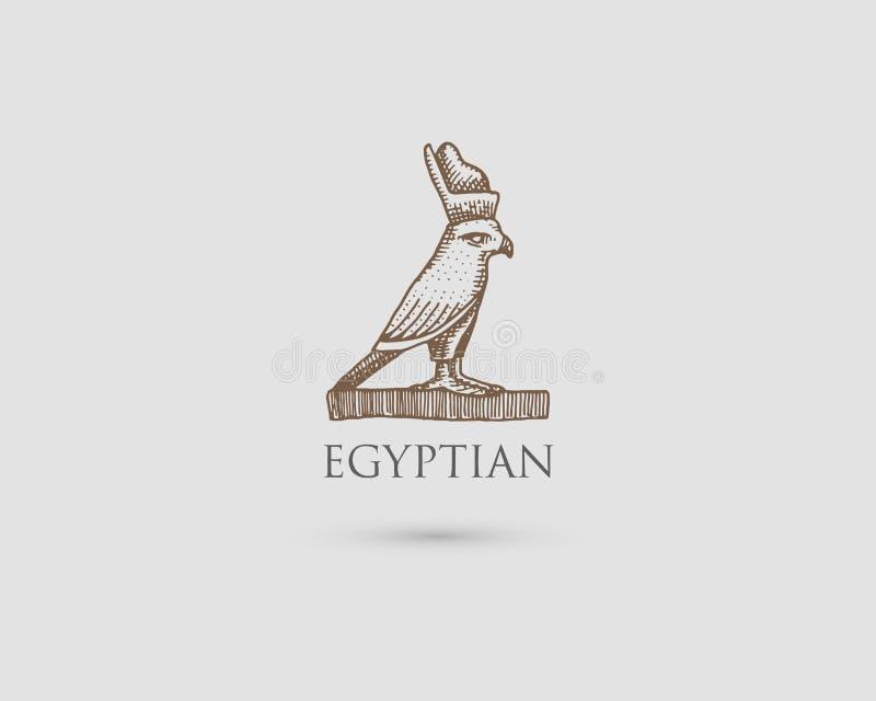 Logotipo egipcio del pharaon con símbolo del vintage antiguo de la civilización, de la mano grabada dibujada en bosquejo o del es ilustración del vector