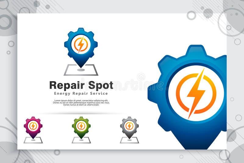 Logotipo eléctrico del vector del punto de la reparación con el concepto simple, ejemplo creativo del mapa del engranaje, eléctri libre illustration
