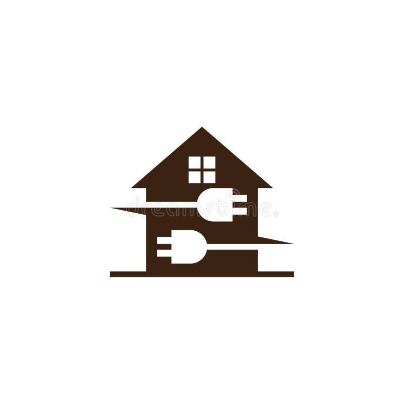Logotipo el?ctrico del negocio del enchufe de la casa stock de ilustración