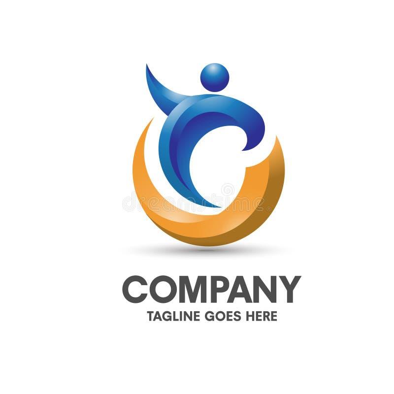 Logotipo el entrenar y de la salud ilustración del vector