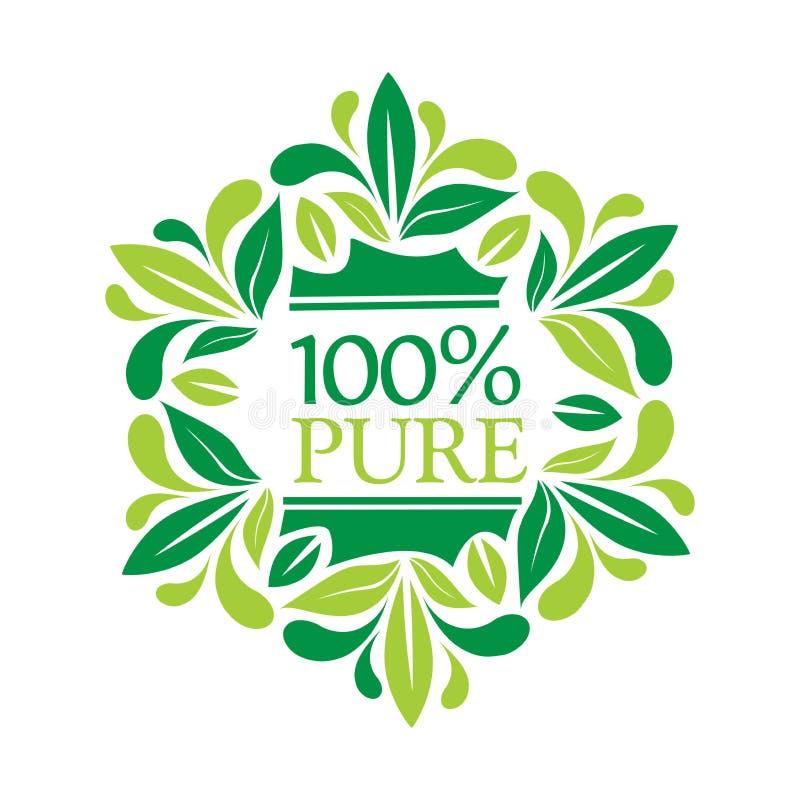 Logotipo el 100% puro con las letras el 100% puro y las hojas libre illustration