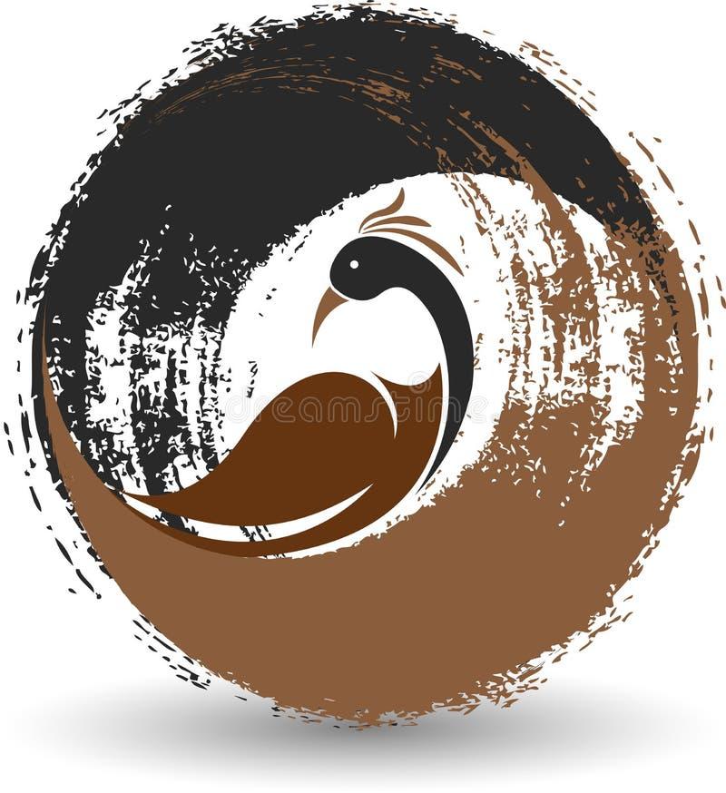 Logotipo elegante del pavo real stock de ilustración