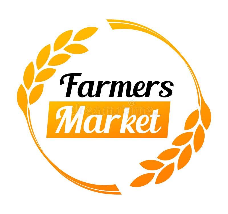 Logotipo elegante para el mercado de los granjeros en el color de oro - ejemplo redondo del vector en el fondo blanco stock de ilustración