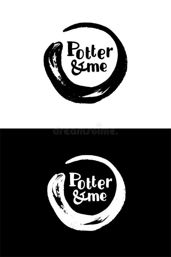 Logotipo eleganty negro de la tinta de la caligrafía del círculo El rastro de fotos de archivo libres de regalías