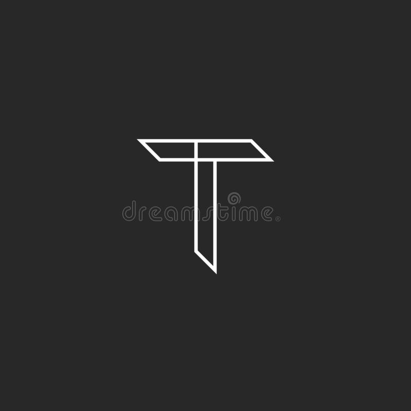 Logotipo em linhas finas, projeto gráfico do modelo da letra de T ilustração royalty free
