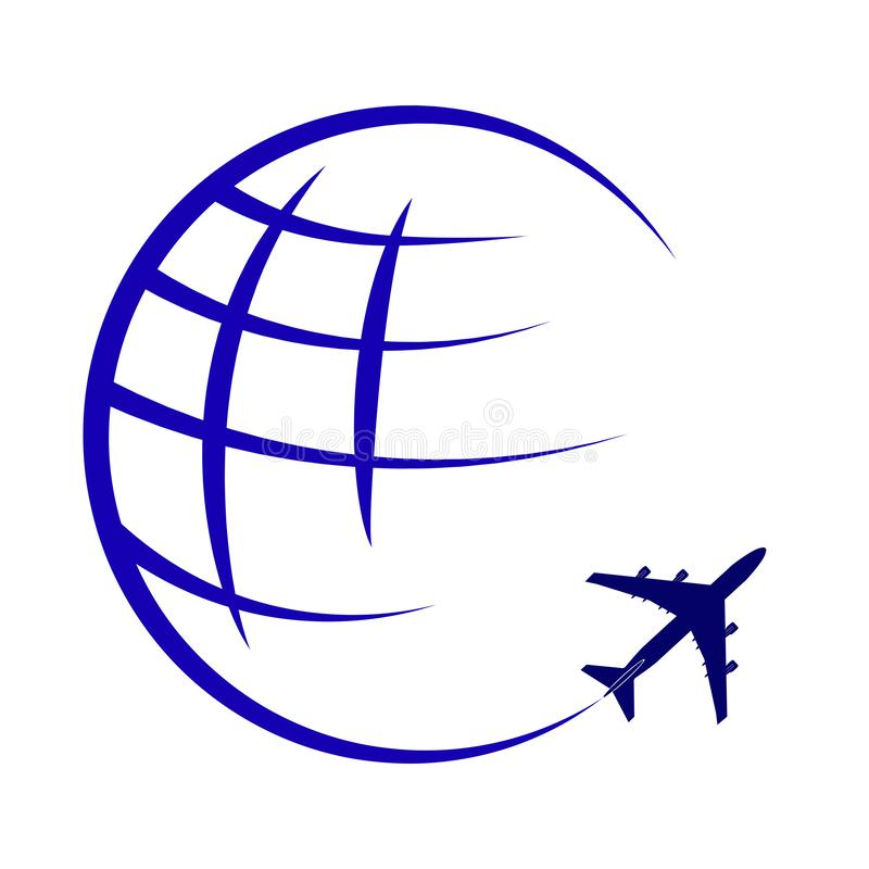 Logotipo en el tema del transporte aéreo global y del viaje stock de ilustración