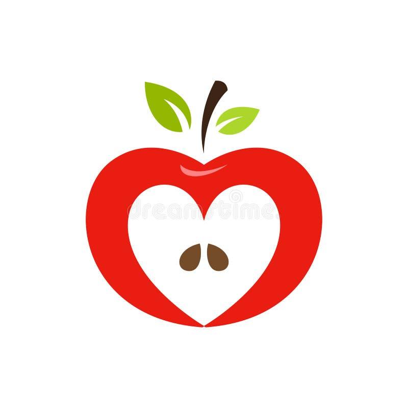 Logotipo En Forma De Corazón Del Vector De La Manzana, Etiqueta ...