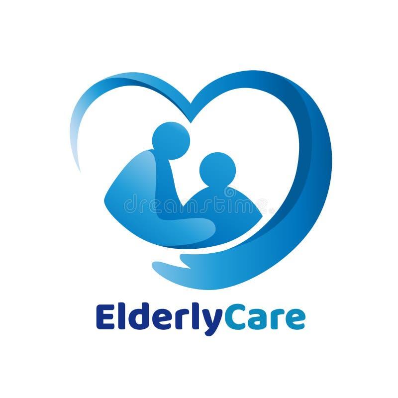 Logotipo en forma de corazón de la atención sanitaria mayor, muestra de la clínica de reposo stock de ilustración
