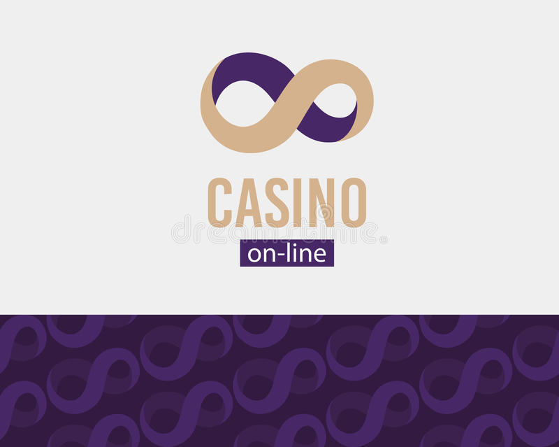 Logotipo en línea del casino, muestra del infinito, símbolo de la etiqueta, concepto del logotipo, modelo inconsútil, ejemplo del stock de ilustración