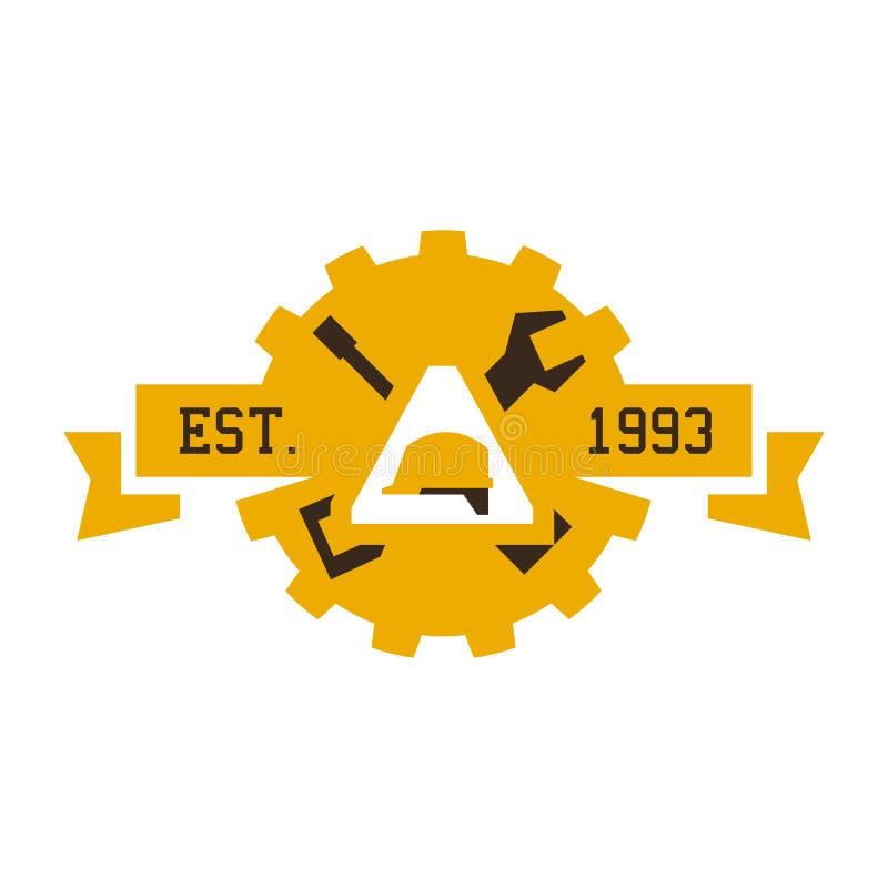 Logotipo en la construcción El casco de trabajo, herramienta profesional Llaves, un destornillador, un engranaje Ilustración del  stock de ilustración