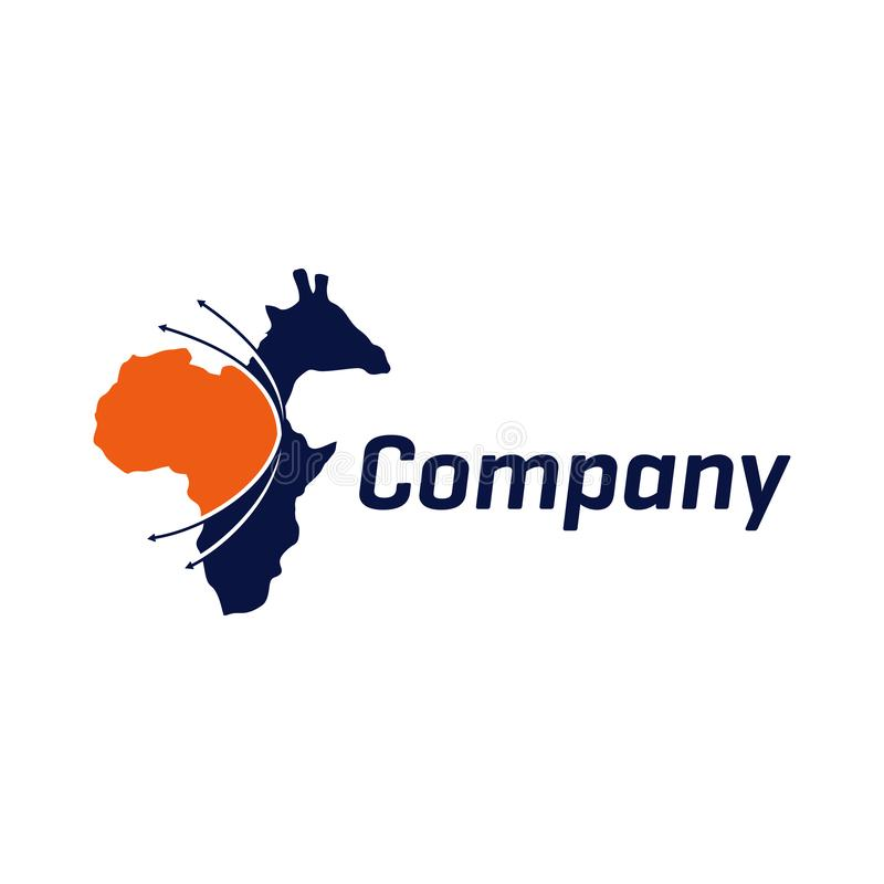 Logotipo en viajes del día de fiesta a África ilustración del vector