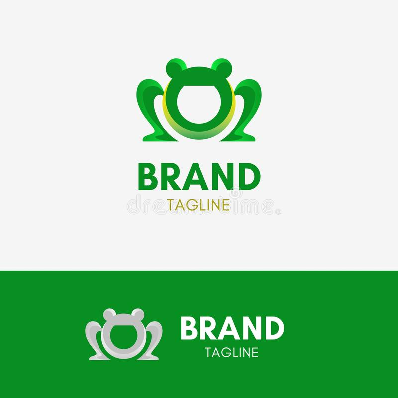 Logotipo engraçado da rã ilustração stock