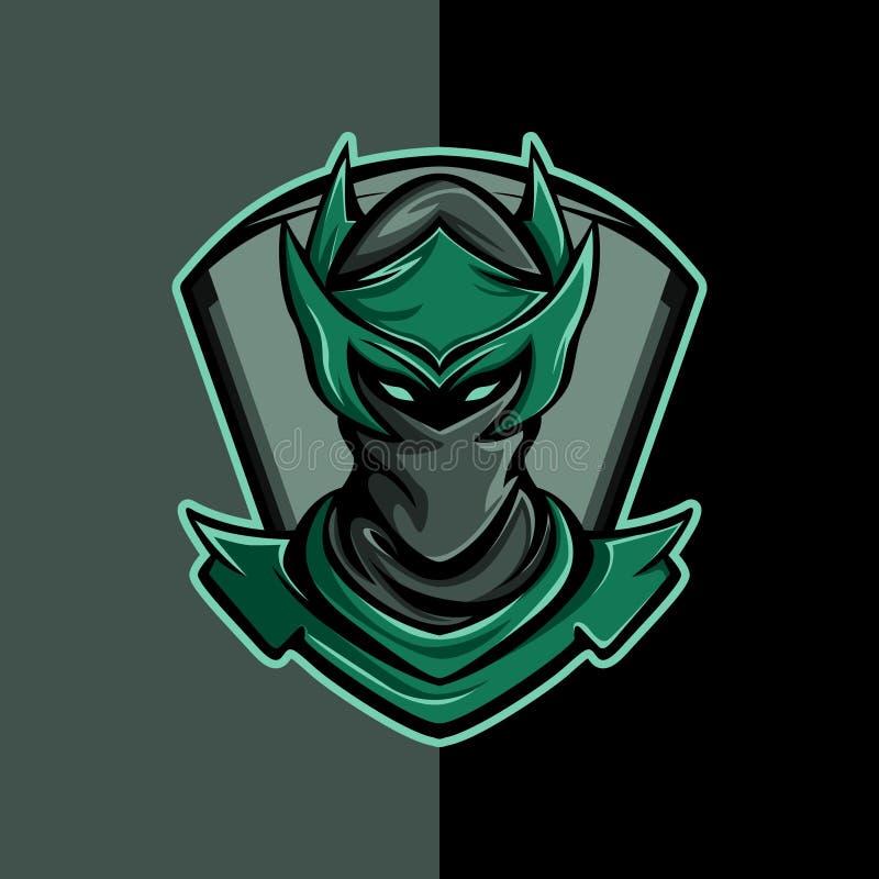Logotipo enmascarado del hombre en negro y verde stock de ilustración