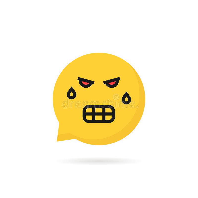 Logotipo enojado de la burbuja del discurso del emoji ilustración del vector
