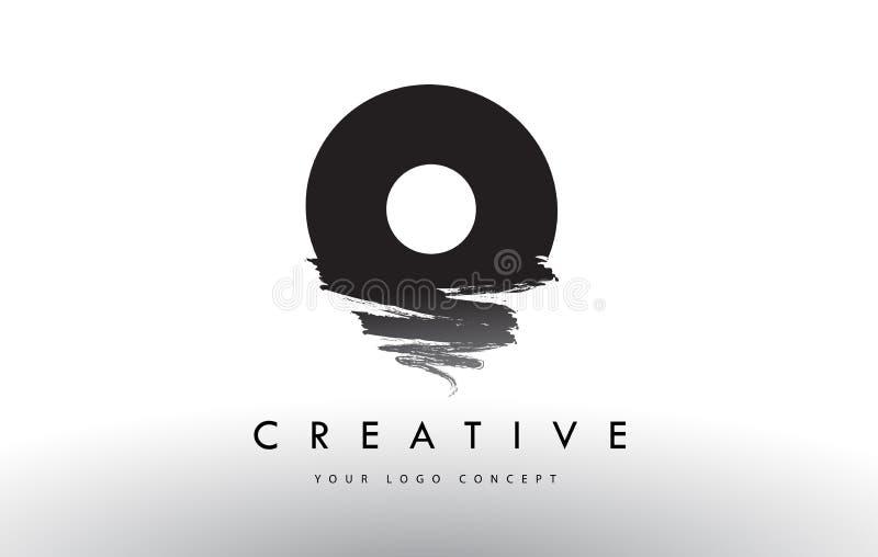 Logotipo escovado O da letra Projeto de letras preto da escova com estreptococo da escova ilustração royalty free
