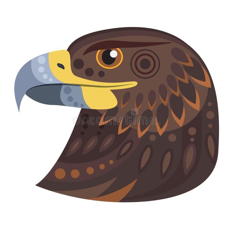 Logotipo escuro da cabeça da águia Emblema decorativo do vetor ilustração do vetor