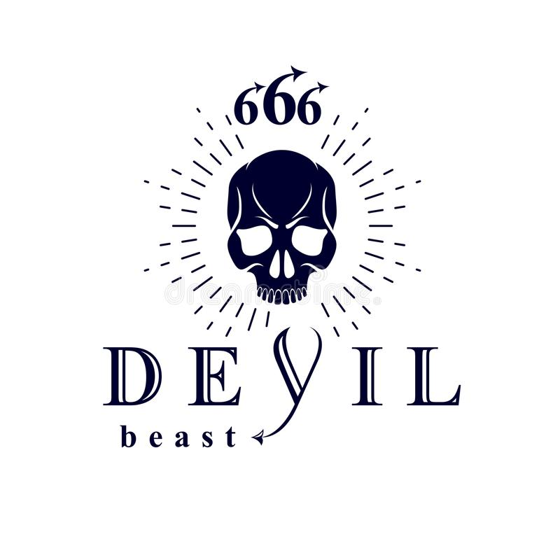 Logotipo espantoso negro de la cabeza muerta del vector Demonio infernal místico, ilustración del vector