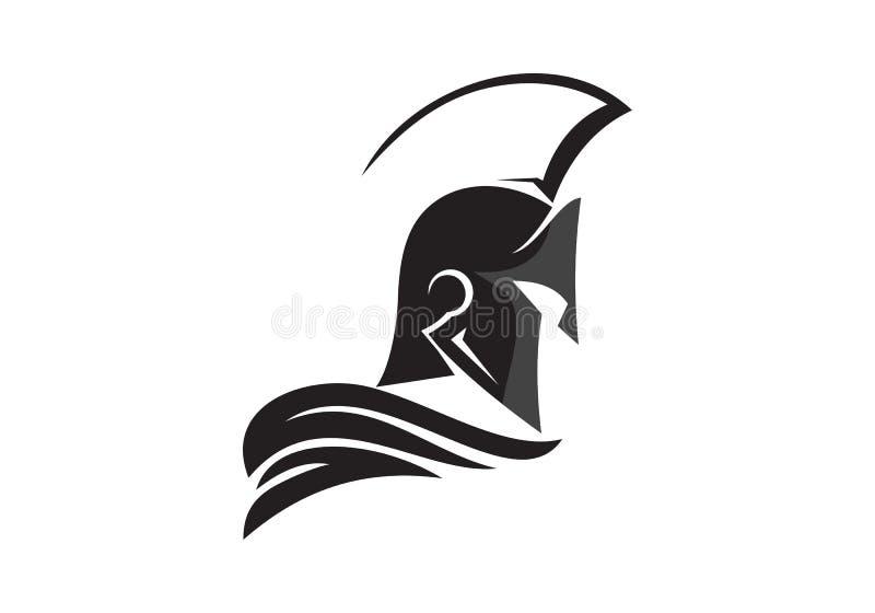 Logotipo espartano del casco stock de ilustración