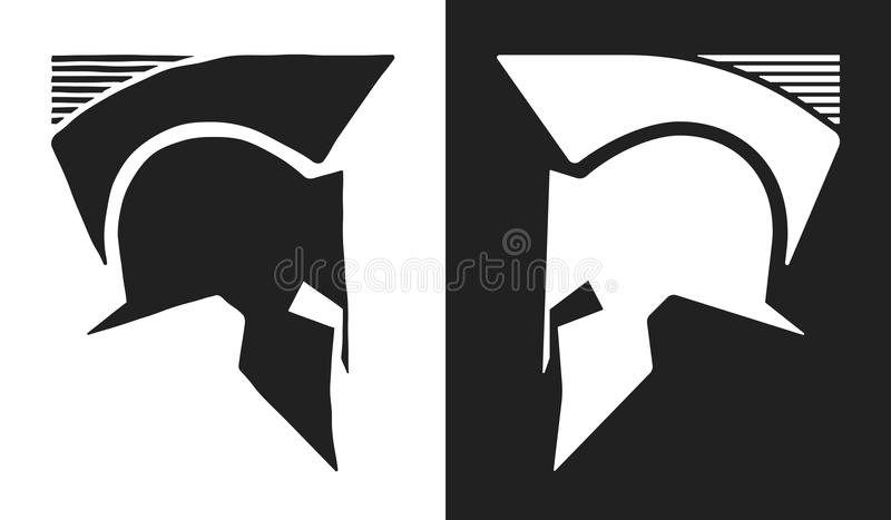 Logotipo espartano do capacete ilustração do vetor