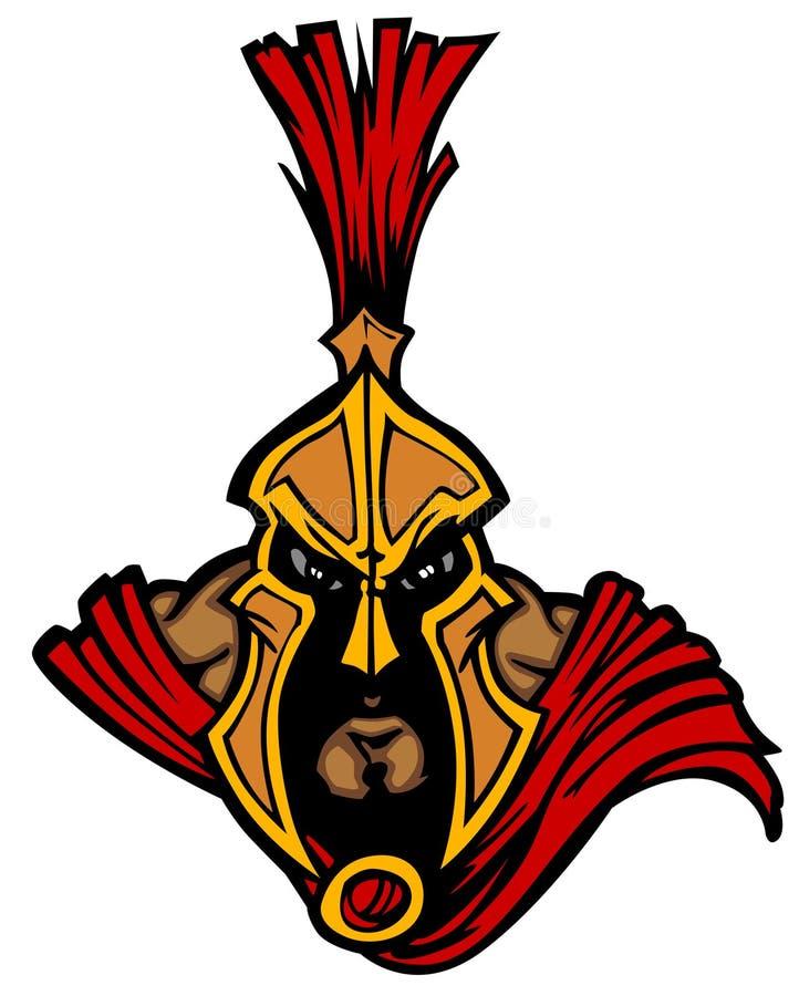 Logotipo espartano/Trojan da mascote ilustração royalty free