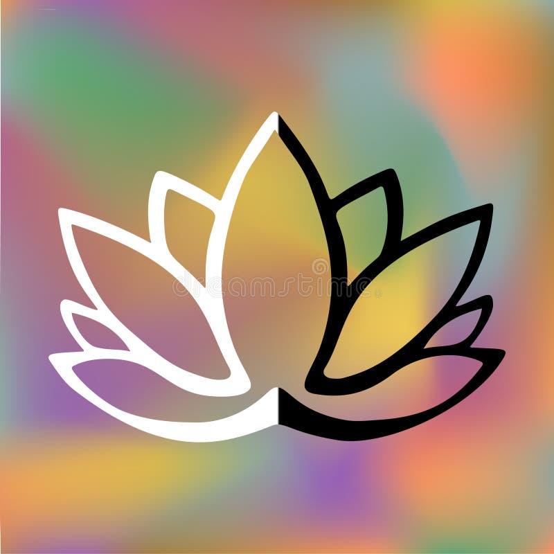 Logotipo estilizado de la flor de loto en fondo borroso brillante Diseño dibujado mano de la fantasía para el tatuaje, paño de la stock de ilustración