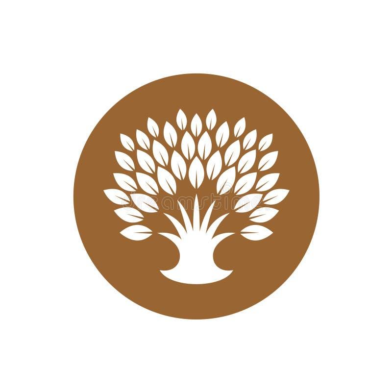 Logotipo estilizado del árbol con la corona rica de hojas ilustración del vector