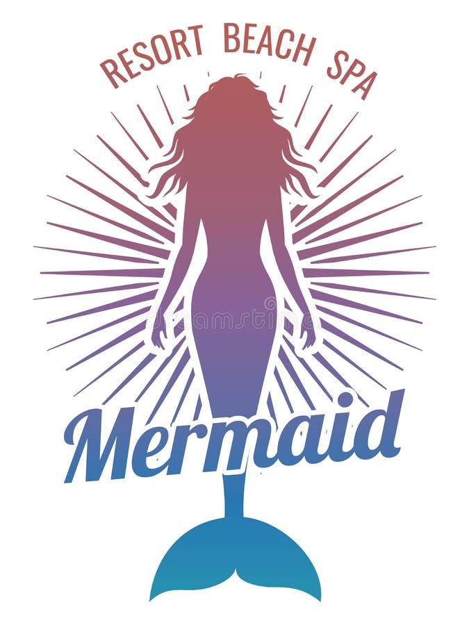 Logotipo estilizado del vector de la silueta de la sirena ilustración del vector