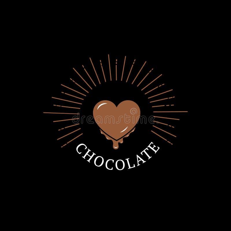 Logotipo, etiqueta, crachá ou emblema do chocolate com coração ilustração royalty free
