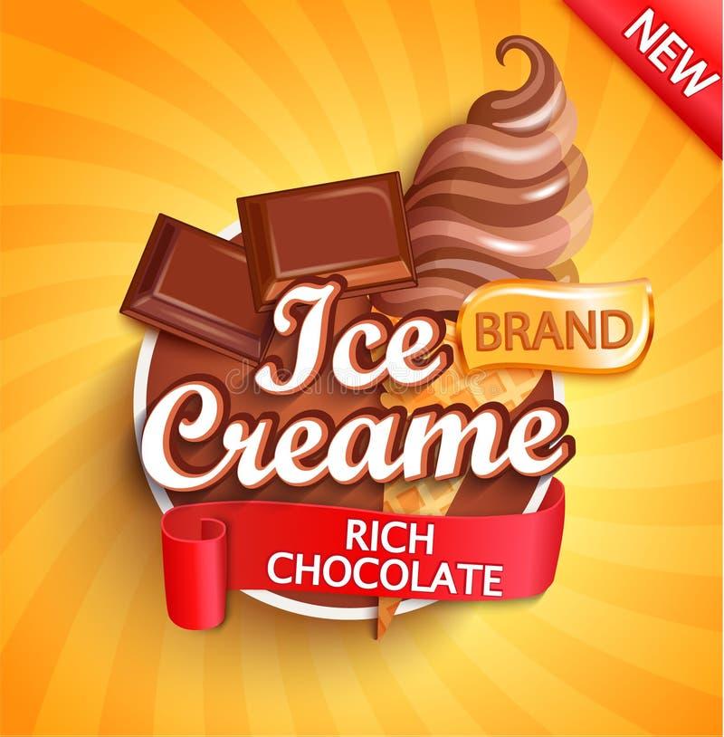 Logotipo, etiqueta o emblema del helado de chocolate ilustración del vector