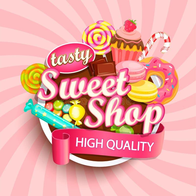 Logotipo, etiqueta o emblema dulce de la tienda stock de ilustración