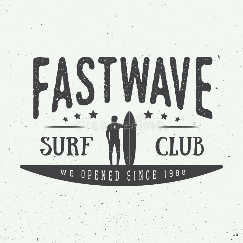 Logotipo, etiqueta o insignia que practica surf