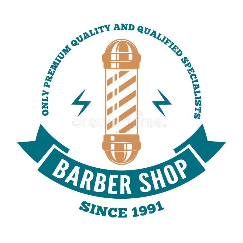 Download Logotipo, Etiqueta Ou Crachá Do Bar Do Cabeleireiro Com O Polo Do  Barbeiro No