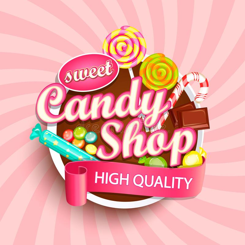 Logotipo, etiqueta ou emblema da loja dos doces imagens de stock