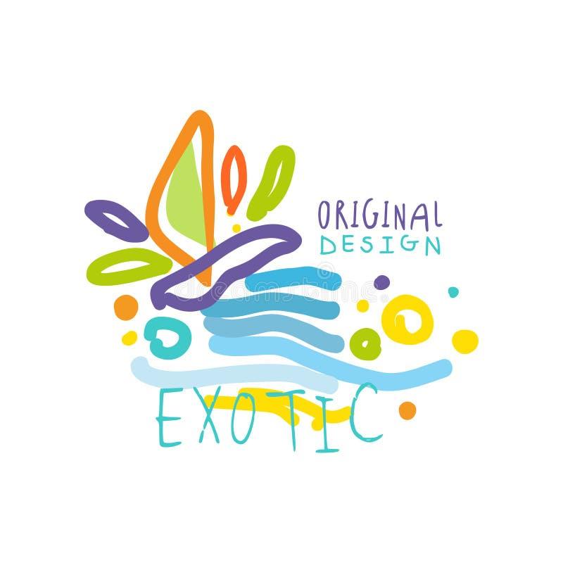 Logotipo exótico del viaje con los elementos del garabato libre illustration