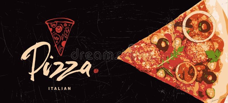 Logotipo exhausto de la mano de la pizza La pizza italiana hizo con la pasión, amor Cocinar la plantilla Cubierta, etiqueta, fond libre illustration