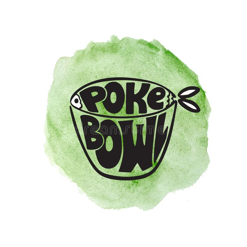 Logotipo exhausto del cuenco del empuje de la mano en fondo verde de la acuarela stock de ilustración