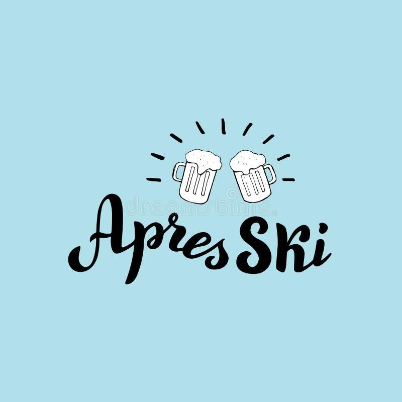 Logotipo exhausto del esquí de los apres de la mano con dos cervezas ilustración del vector