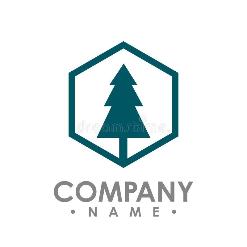Logotipo exterior da floresta da silhueta do verde do curso do pinheiro do hexágono ilustração royalty free