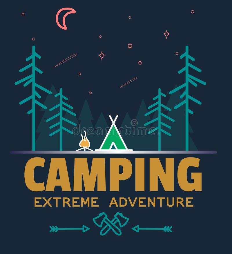 Logotipo exterior do crachá da floresta do acampamento e da aventura, logotipo do emblema, projeto da etiqueta Ilustração do veto ilustração royalty free