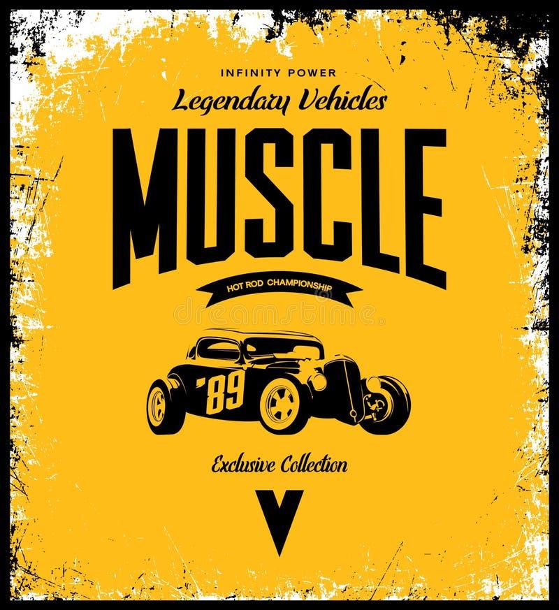 Logotipo feito sob encomenda do t-shirt do vetor do hot rod do vintage no fundo amarelo ilustração stock