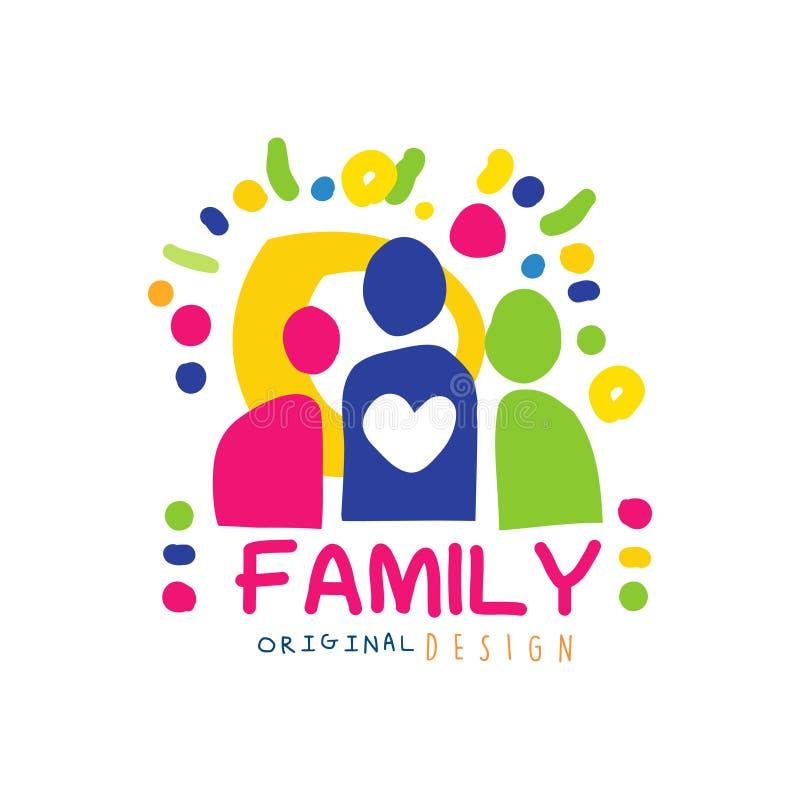 Logotipo feliz abstracto de la familia con formas simples de la gente ilustración del vector