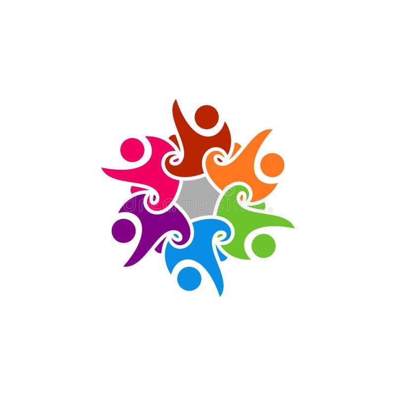 Logotipo feliz abstracto de la gente stock de ilustración