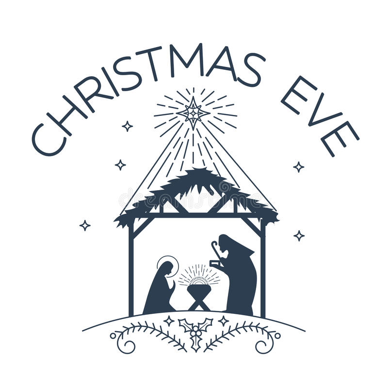 Logotipo feliz da Noite de Natal ilustração do vetor