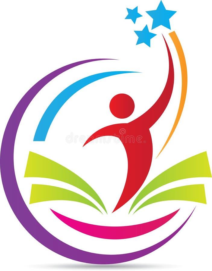 Logotipo feliz de la educación libre illustration