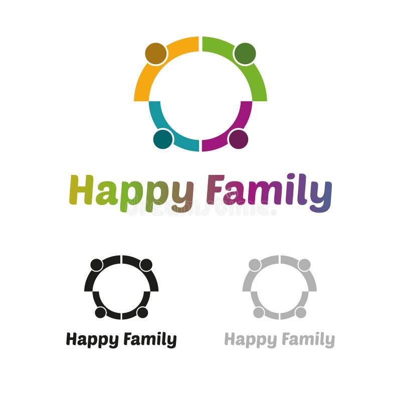 Logotipo feliz de la familia stock de ilustración