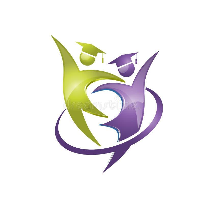 Logotipo feliz de la graduación del estudiante libre illustration