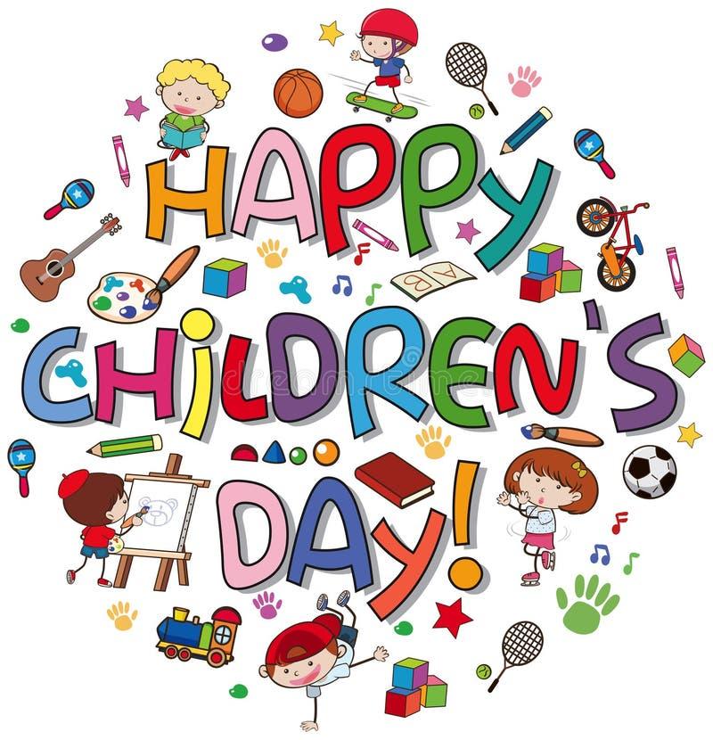 Logotipo feliz do dia das crianças ilustração stock