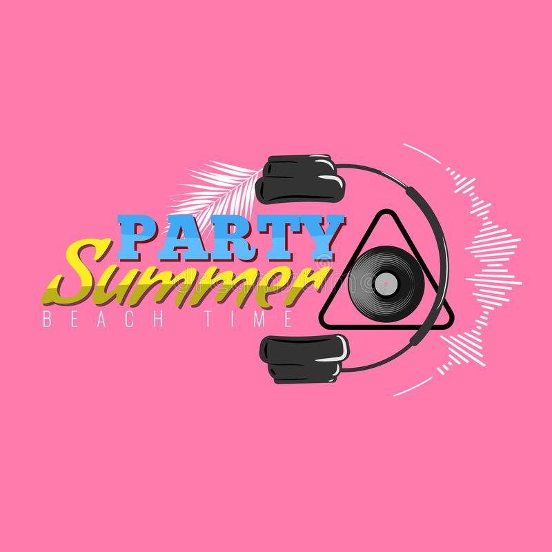 Logotipo feliz do partido do verão com ícone do fones de ouvido e da onda sadia Cartaz do concerto do DJ Ilustração do vetor ilustração stock